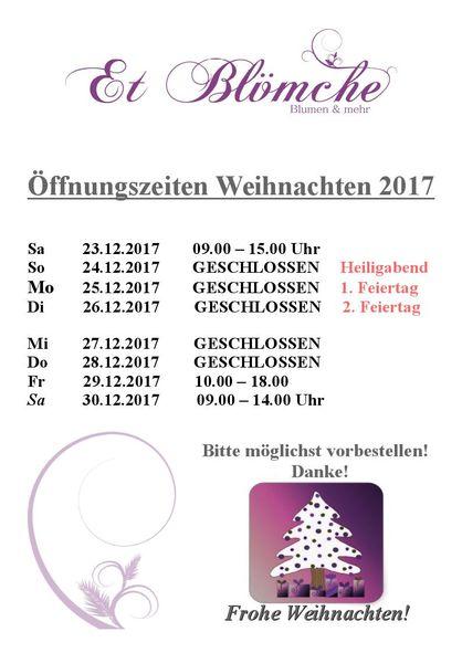 öffnung an heiligabend 2017